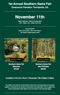 1st Annual Southern Game Fair at Greenwood Plantation Campus Thomasville, GA is right around the corner. For more information on how to get registered visit http://www.kevinscatalog.com/hunt-season/kevin-purdey-game-fair.html