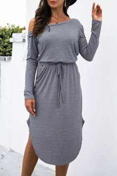 Autumn New Cotton Sexy Off Shoulder Midi Dress Women Solid Casual Slim Drawstring High Waist Pocket Split Asymmetrical Vestidos Dress Brands, Casual Dresses For Women, Sleeve Styles, High Waist, Cold Shoulder Dress, Slim, Autumn, Pocket, Model