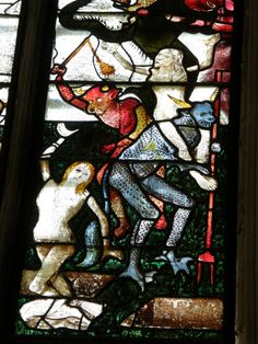 souls taken to hell: stained glass in Fairford church Stained Glass Tattoo, Stained Glass Panels, Stained Glass Art, Medieval Stained Glass, Demonology, Medieval Art, Fantastic Art, Stone Carving, Religious Art