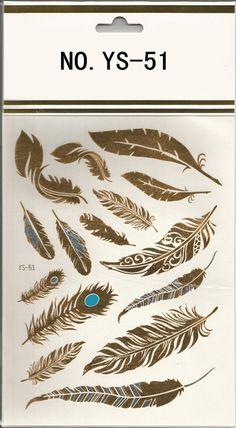 1Sheet Flash Tattoo Feather Design Gold Temporary Tattoos Glitter ...