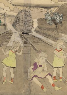 outside artist  henry j darger The use of simple lines as outlines seems very interesting to me