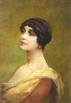 Painting of Lina Cavalieri found in St. Petersburg.  Artist unknown