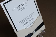 Elegant Wedding Invitation, Classic Wedding, Luxurious, Glitz, Bling - Elegant Pocket with Rhinestone Embellishment