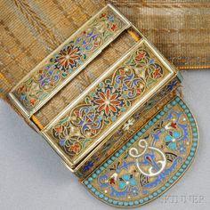 Antique Gilt-silver and Enamel Buckle, Retailed by Tiffany & Co., Russia, the enamel buckle with floral and foliate motifs, and completed by a fabric strap, Russian maker's mark and hallmarks, signed Made for Tiffany & Co.