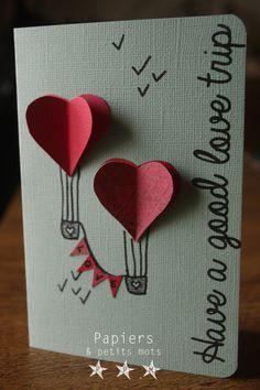 Carte mariage voeux bonheur en scrapbooking. Thème origami
