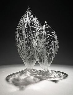Glass, Holly Grace, Artist, Clearing, 2007, blown glass, sand carved decoration, 27 X 6 X 29 inches