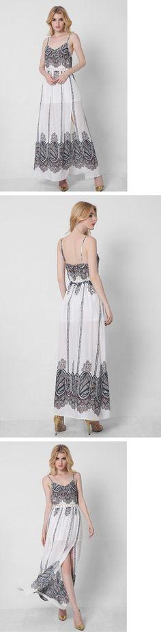 Grey Print Spaghetti Straps Maxi Dress