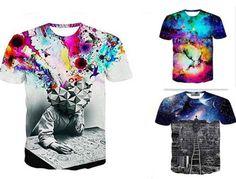 Fashion Men's Short Sleeve 3D Tops Creative Graffiti Print Hip Hop Style T-Shirt | eBay