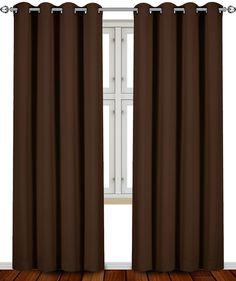 Blackout, Room Darkening Curtains Window Panel Drapes - (Chocolate Color) 2 Panel Set