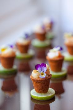Peter Callahan's Potted Shrimp with edible pansies.