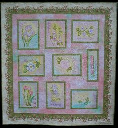 Wall Hanging  The Painted Garden Art Quilt Hand by paintedquilts