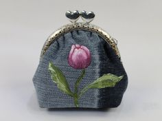 Pink Tulips, Tulips Flowers, Coin Purse Tutorial, Denim Fabric, Silver Color, Knits, Crafting, Hand Painted, Etsy Shop