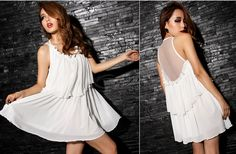 Cheap Wholesale Glamour Round Neck Back See-Through Voile Splice Sleeveless Layered Chiffon Women's Dress (WHITE,ONE SIZE) At Price 8.99 - DressLily.com