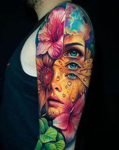 Gamer Tattoos, Red Tattoos, Dope Tattoos, Body Art Tattoos, Tattoos For Guys, Nature Tattoo Sleeve, Best Sleeve Tattoos, World Famous Tattoo Ink, World Tattoo