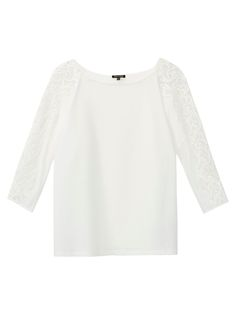 Loose-fitting T-shirt with lace trims on the sleeves, made of 100% cotton. Features a boat neckline and 3/4 length batwing sleeves.