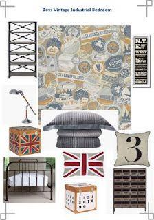 boy vintage industrial bedroom mood board