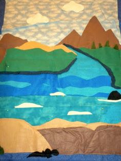 Land Air Water mat out of felt.  Montessori geography