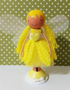 OOAK Yellow Daisy Fairy Miniature Wooden by SugarlandDollHouse