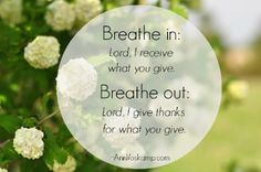 Breathe in: Lord, I receive what you give. Breathe out: Lord, I give thanks for what you give.  AnnVoskamp.com