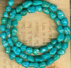 "Mexican Campitos Turquoise Beads 100 Authentic Natural Color 16"" Str 6 8mm 