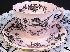 COALPORT PINK BLACK FLORAL BIRDS TEA CUP AND SAUCER TEACUP | eBay