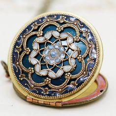 Locketsblue locketJewelry Gift filigree locket by emmalocketshop