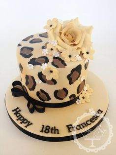 Painted Leopard Print - Cake by Laura Davis Cheetah Print Cakes, Leopard Cake, Leopard Party, Pretty Cakes, Beautiful Cakes, Amazing Cakes, Bolo Glamour, Fondant Cakes, Birthday Cakes
