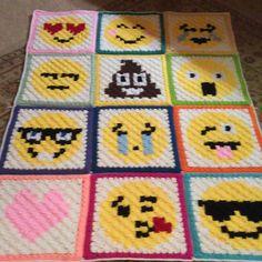 Emoji Blanket pattern by Repeat Crafter Me and a few panels of my own design.  #emoji #emojis #blanket #c2c #crochet #crocheting #crochetersofinstagram #imadethis by house_of_julie