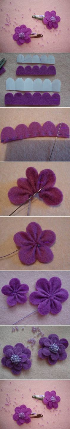 Purple Hair Clip | DIY & Crafts Tutorials-- This would be a pain to cut out but it's great to have one piece of fabric! Cute.