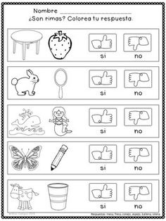 rimas hojas de trabajo spanish rhyming worksheets spanish class dual language language spanish. Black Bedroom Furniture Sets. Home Design Ideas