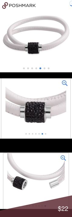 ❤️Sale❤️Black Austrian crystal choker Brand new and in the original box  White leather and black Austrian crystal Jewelry Necklaces