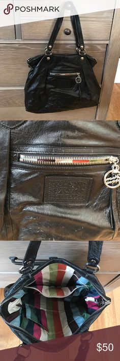 COACH BLACK BAG Black leather coach lollipop bag: colorful lining. Has signs of wear but no rips or tears. Excellent inside condition Coach Bags Shoulder Bags