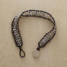 labradorite railroad bracelet  Labradorite rondelles on sterling silver ties spark tracks of brown leather. $ 440.