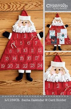Countdown to the big day with this festive advent calendar. Hide treats in the embroidered, numbered pockets. Create body using Crossroads Denim. Don't hide your holiday cards away, display them in a Santa card holder, which has vinyl pockets. Nativity Advent Calendar, Christmas Tree Advent Calendar, Advent Calenders, Christmas Countdown, Christmas Sewing, Christmas Fabric, Felt Christmas, Father Christmas, Nordic Christmas