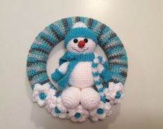 Snowman Winter Wreath - Snowman Wreath - amigurumi - Snowman Tutorial - Yarn Wreath - crochet wreath - Instant download pdf h