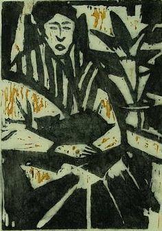 Frau mit katze Otto Lange