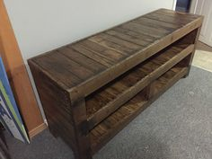 This entertainment unit was custom built from repurposed pallets for a return customer.