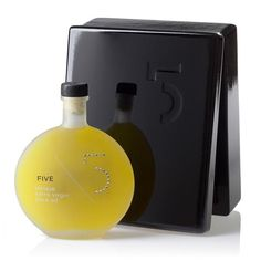 5 Unique Extra Virgin Olive Oil adorned with Swarovski Elements and presented in Black Lacquered Gift Box $95 www.ultralavish.com