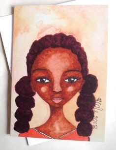 Afro Caribbean Greeting Card Tennis Girl via Etsy