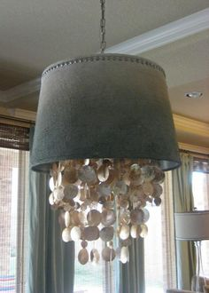 Dripping Capiz Shell Chandelier & Shade. World Market Capiz Chandelier + lamp shade + upholstery brads