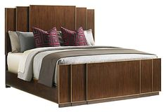 Fairmont Panel Bed -- like the cathedral back panels.  Possible inspiration but upholstered fabric panels instead of wood.
