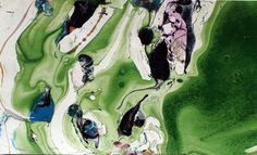 Artist,Canada, abstract marbled painting GREEN PLANET #5 3x5 inches mixed media #Abstract