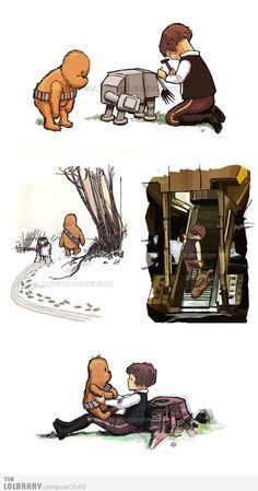 So freakin cute! Winnie the pooh style Star Wars.