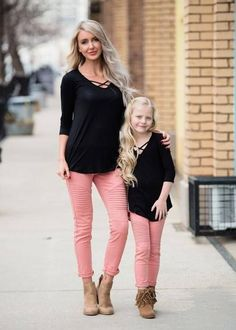 Little Girls Black Criss Cross Top Mommy and Me Matching Outfits Ryleigh Rue Clothing Spring Fashion Online Shopping Boutique Mom Daughter Matching Outfits, Mommy And Me Outfits, Little Girl Outfits, Matching Family Outfits, Mother Daughter Photos, Mother Daughter Fashion, Mother Daughter Photography, Girls Winter Outfits, Outfit Winter