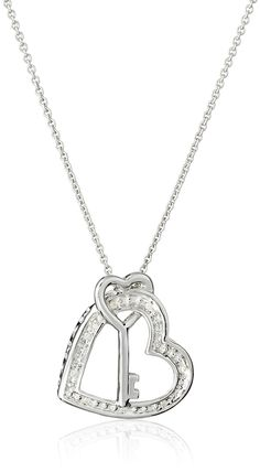 """Sterling Silver  Diamond Accent Heart and Key Pendant Necklace (0.02 cttw), 18"""": Jewelry"""