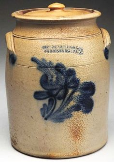 "Sold $ 425 Harrisburg, PA. Double-handled. Original lid. Strong cobalt blue floral decoration. Minor pin nips to rim. No repairs or restoration.Condition (Excellent). Size 12"" T."
