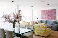 Vibrant patterns in living room