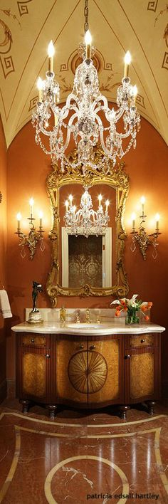 Tuscan powder room with vaulted ceilings.