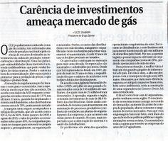 Título: Carência de investimentos ameaça mercado de gás. Veículo: jornal Correio Braziliense. Data: 18/02/2014. Cliente: Copagaz.