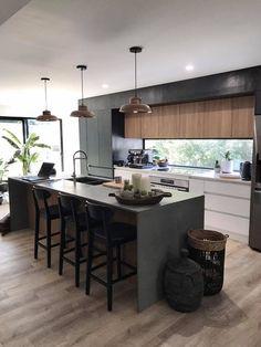 Furniture For Sale In Houston Open Plan Kitchen Living Room, Kitchen Room Design, Modern Kitchen Design, Kitchen Layout, Home Decor Kitchen, Interior Design Kitchen, Home Kitchens, Kitchen Furniture, Kitchen Ideas
